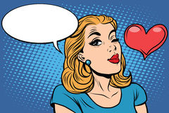 Emoji retro heart love romance girl emoticons. Pop art vector illustration. Emoji woman. Emotions girl face. Retro Emoji girl Stock Photos