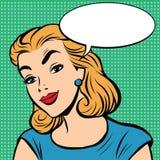 Emoji retro Nice smile girl emoticons. Pop art vector illustration. Emoji woman. Emotions girl face. Retro Emoji girl Stock Photography