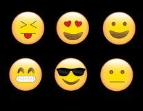 Emoji& x27; s äcklade lyckliga frustrerade coolt ställda framsidor för förälskelse Fotografering för Bildbyråer