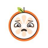 Emoji - sad orange feeling like crying. Isolated vector. Sad emoji. Sad despondent orange fruit emoji feeling like crying. Vector flat design emoticon icon stock illustration