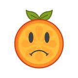 Emoji - sad orange feeling like crying. Isolated vector. Sad emoji. Sad despondent orange fruit emoji feeling like crying. Vector flat design emoticon icon royalty free illustration