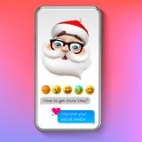 Emoji Santa Claus, emoticon del fronte di sorriso di festa, illustrazione di Natale di vettore royalty illustrazione gratis