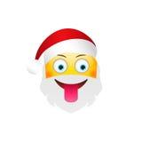 Emoji Santa Claus. Winter Holidays Emoticon. Character with tongue Royalty Free Stock Images