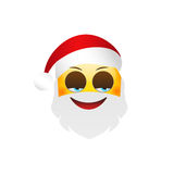 Emoji Santa Claus. Winter Holidays Emoticon. Cunning Character Royalty Free Stock Photos
