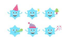Emoji-sbsnowflake Satz Stockfotos