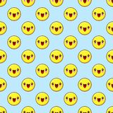 Emoji seamless pattern on a blue background. vector illustration Royalty Free Stock Photography