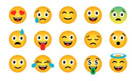 Emoji set. Cute funny emotional icons. Happy emoticons. Smiling faces symbols. Vector illustration Royalty Free Stock Photos
