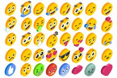 Emoji Set Emoticon Reactions Social Button Vector. Emoji Set emoticon reactions. Vector EPS 10 3D flat design isometric icons hearth angry or smile face and like Royalty Free Stock Photos