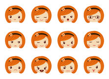 Emoji set of girls, avatar collection Royalty Free Stock Image