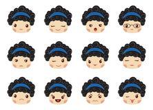 Emoji set of girls, avatar collection Stock Images