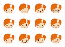 Emoji set of girls, avatar collection Royalty Free Stock Images