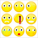 Emoji set. Smile, what, wink, angry, dead, evil, crying, show tongue, sulk emoticon. Vector illustration. Stock Photos