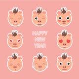 Emoji Set. Symbol of new year. Stickers vector illustration