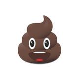 Emoji Shit Poo emoticon Πρόσωπο επίστεγων που απομονώνεται Στοκ Εικόνες