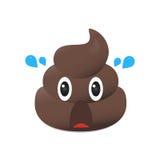 Emoji Shit Poo emoticon Πρόσωπο επίστεγων που απομονώνεται Στοκ Φωτογραφίες