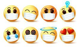 Emoji smiley with covid-19 face mask vector set. Emoji smiley with facial expressions wearing facemask