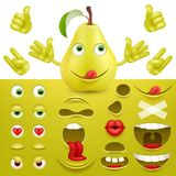 Emoji, smiley creator from pear. Collection of details for creating emotions. Vector image. Emoji, smiley creator from pear. Collection of details for creating vector illustration