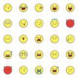 Emoji and smileys filled outline icons set vector illustration