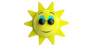 Emoji solguling med svartrundasolglasögon som ler, utklipp som isoleras på en vit bakgrund illustration 3d stock illustrationer