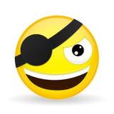 Emoji sonriente del pirata Emoción feliz Emoticon del malvado Estilo de la historieta Icono de la sonrisa del ejemplo del vector Fotografía de archivo libre de regalías