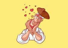 Emoji sticker seaman captain hearts in love. Stock vector illustration cartoon character pirate sea robber filibuster emoji sticker seaman captain sailor mascot stock illustration