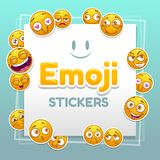 Emoji stickers background. Abstract background with funny smiley yellow faces. stock illustration