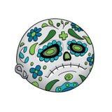 Emoji-Stirnrunzeln Tag der Toten Dia De Los Muertos Halloween Auch im corel abgehobenen Betrag stock abbildung