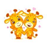 Emoji tem a data deixou s sair emoticon da etiqueta do girafa dos amigos dos desenhos animados do caráter Foto de Stock