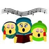 Emoji Three Carolers singing holding candles and book. Three emoji singing caroler characters dressed for winter holding candles and song book with musical notes Royalty Free Stock Photo
