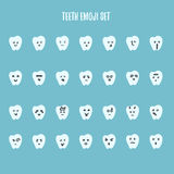 Emoji tooth set with different emotions - angry, happy, smile Stock Photos