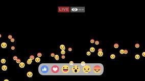 Emoji triste y enojado del interfaz vivo de la pantalla de Facebook - de las reacciones en fluir el vídeo en directo stock de ilustración