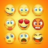 Emoji und trauriger Ikonensatz ansammlung lizenzfreie abbildung