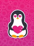 Emoji, vector sticker with penguin in love Royalty Free Stock Image