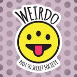 Emoji weird three eyed funny face. Weirdo smile, sticker or patch design vector illustration Royalty Free Stock Photo