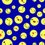 Emoji on yellow ball background and pattern. Vector Illustration.  Stock Images