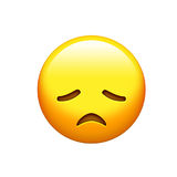 Emoji yellow disappointed, upset face and closing eyes icon Royalty Free Stock Image
