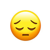 Emoji yellow disappointed, upset face and closing eyes icon Stock Photography