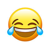 Emoji yellow face lol laugh and crying tear icon Royalty Free Stock Images