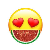 Emoji yellow face red heart eyes and glitter fruit watermelon Stock Image