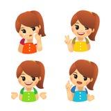 Emoji z dziewczęcymi emocjami Smucenie, pogodność, zwycięstwo, dezaprobata ilustracja wektor