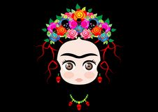 Emojibaby Frida Kahlo met kroon van kleurrijke die bloemen, op zwarte wordt geïsoleerd stock illustratie