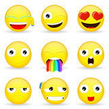 Emojireeks Emoticonreeks Stock Foto's