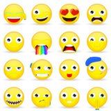 Emojireeks Emoticonreeks De stijl van het beeldverhaal Stock Fotografie