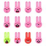 Emojireeks van de konijntjesglimlach Vlakke de stijlvector van het Emoticonpictogram Stock Foto