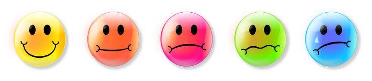 Emojis представляя чувства Стоковые Изображения