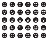 EMOJIS Black Icons. This is a set of Black Emojis Icons Royalty Free Stock Image
