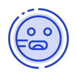 Emojis, Emoticon, hambriento, línea de puntos azul línea icono de la escuela stock de ilustración
