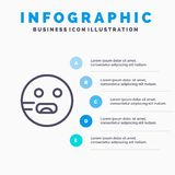 Emojis, Emoticon, hambriento, línea icono de la escuela con el fondo del infographics de la presentación de 5 pasos stock de ilustración