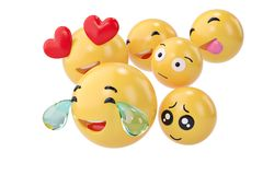 Emojis icons with facial expressions social media concept isolat. Ed white.3D illustration Stock Images
