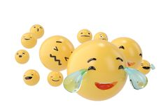 Emojis icons with facial expressions social media concept isolat. Ed white.3D illustration Royalty Free Stock Photo